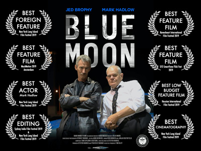 Blue Moon poster with laurels